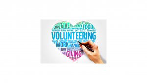 a heart volunteer graphic with words that support service as a recovery from substance abuse tool
