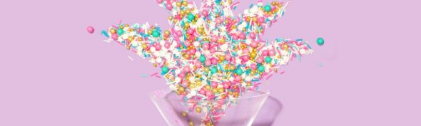 a champagne glass with confetti to show you can have fun without alcohol